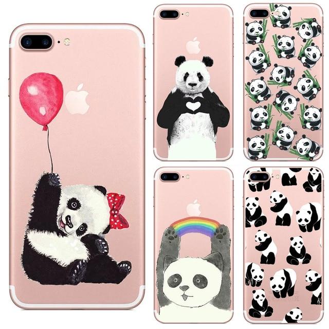 f87084bb171 Carcasa de TPU transparente Panda de animales encantadores de China para  Iphone 6 6 s 5