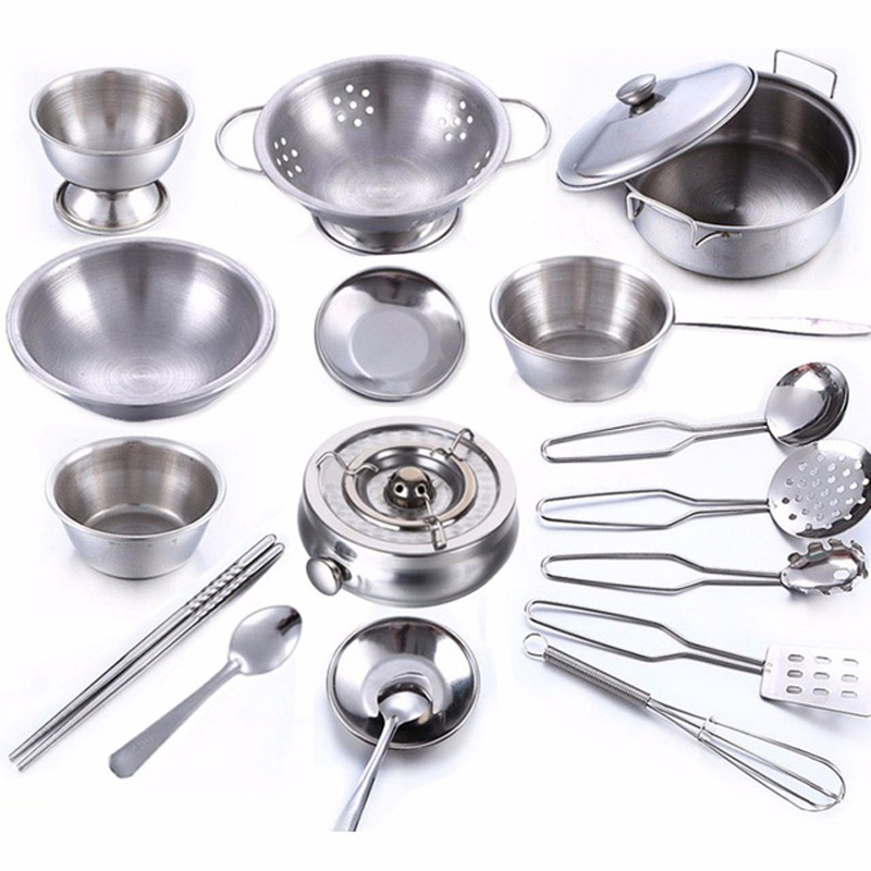 Kitchen Set Pots And Pans: 18Pcs/set Stainless Steel Pots And Pans Pretend Play