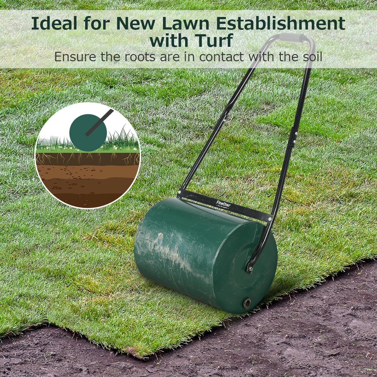 Drum-Lawn-Roller Garden-Tools With Scraper-Bar Manual Removable Drain Fill-Plug 46L/30L