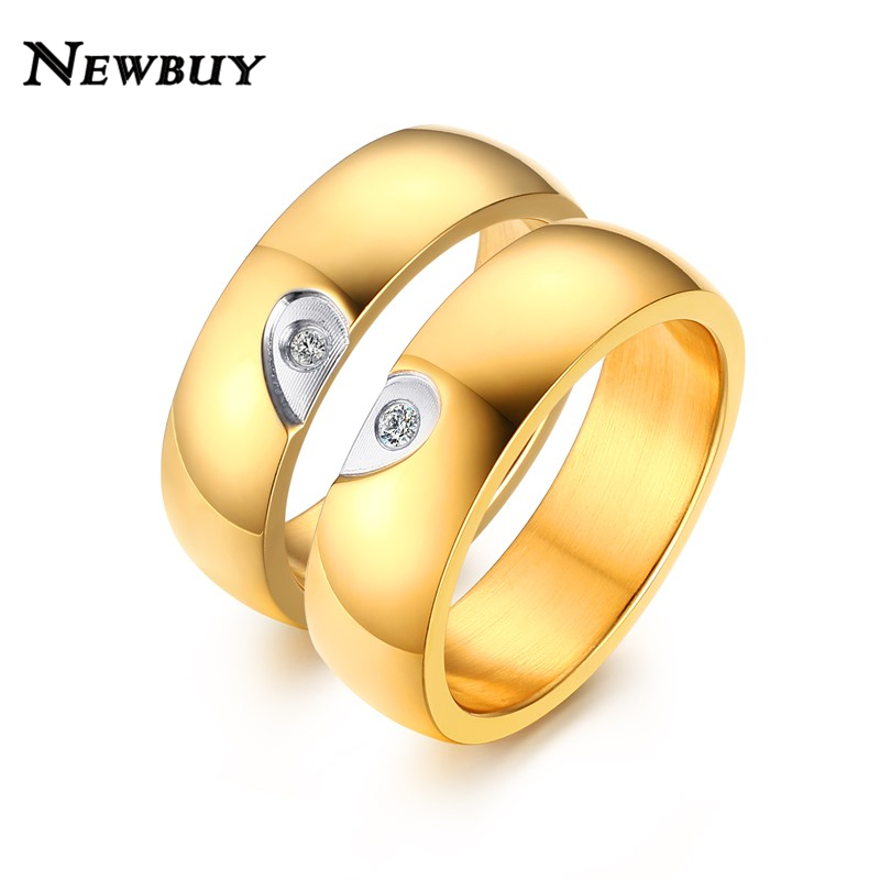 NEWBUY 2017 New Fashion Gold color Women Men Wedding Ring