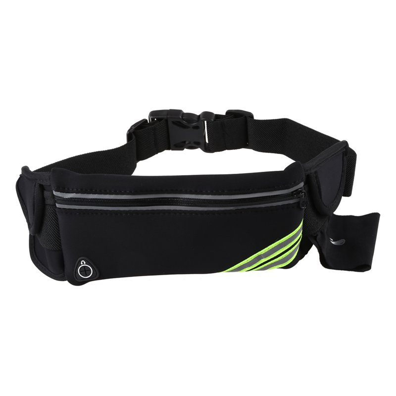 Running Belt Waist Pack Pouch Reflective Water Resistant Cell Phone Holder Bag For Workout Sports Walking Fitness Exercise(bla