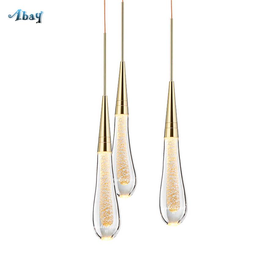 Хрустальный подвесной светильник в форме капли воды в стиле арт-деко для столовой кухни, роскошное украшение для гостиной, современный дизайн, светодиодная Подвесная лампа