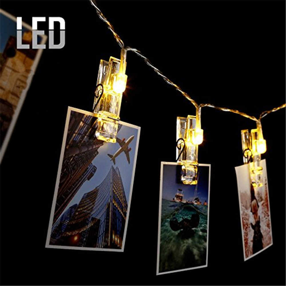 1.5 M 10 pcs LED Foto Klip Gaya Natal Peri Cahaya Led String pernikahan natal Garland Tahun Baru dekorasi natal untuk rumah
