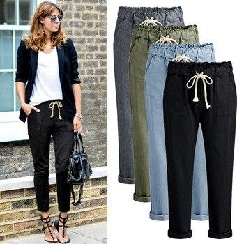 Women Slub Cotton Casual Pencil Pants Drawstring Solid Casual Pockets Pencil Pants Ankle-length High Waist Trousers Female