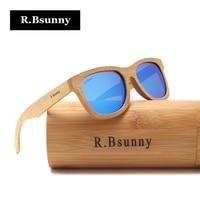 R.Bsunny Classic Men Wood Sunglasses Women Polarized Bamboo Sun Glasses Brand Design wooden frame driving eyewear Handmade RZ904