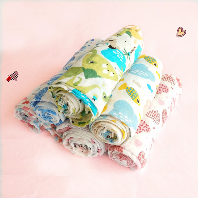 New Prints Baby Muslin Blanket Newborn 100% Cotton Newborn Bath Travel Towel swaddle Warp Multifunctional Quilt 100*140CM