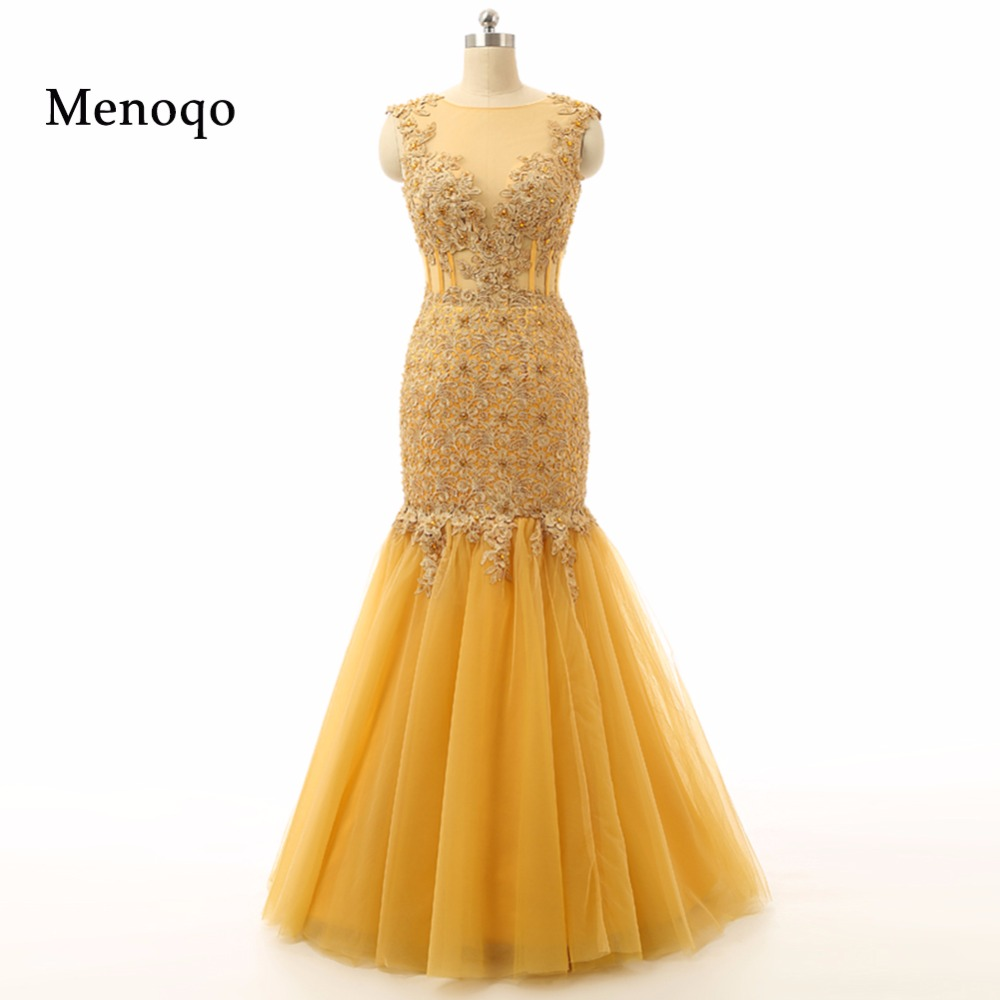 Vestidos de festa Abendkleid Real Photo Gold Mermaid Cap sleeve High quality Applique Tulle Special Occasion   Evening     dress   2019