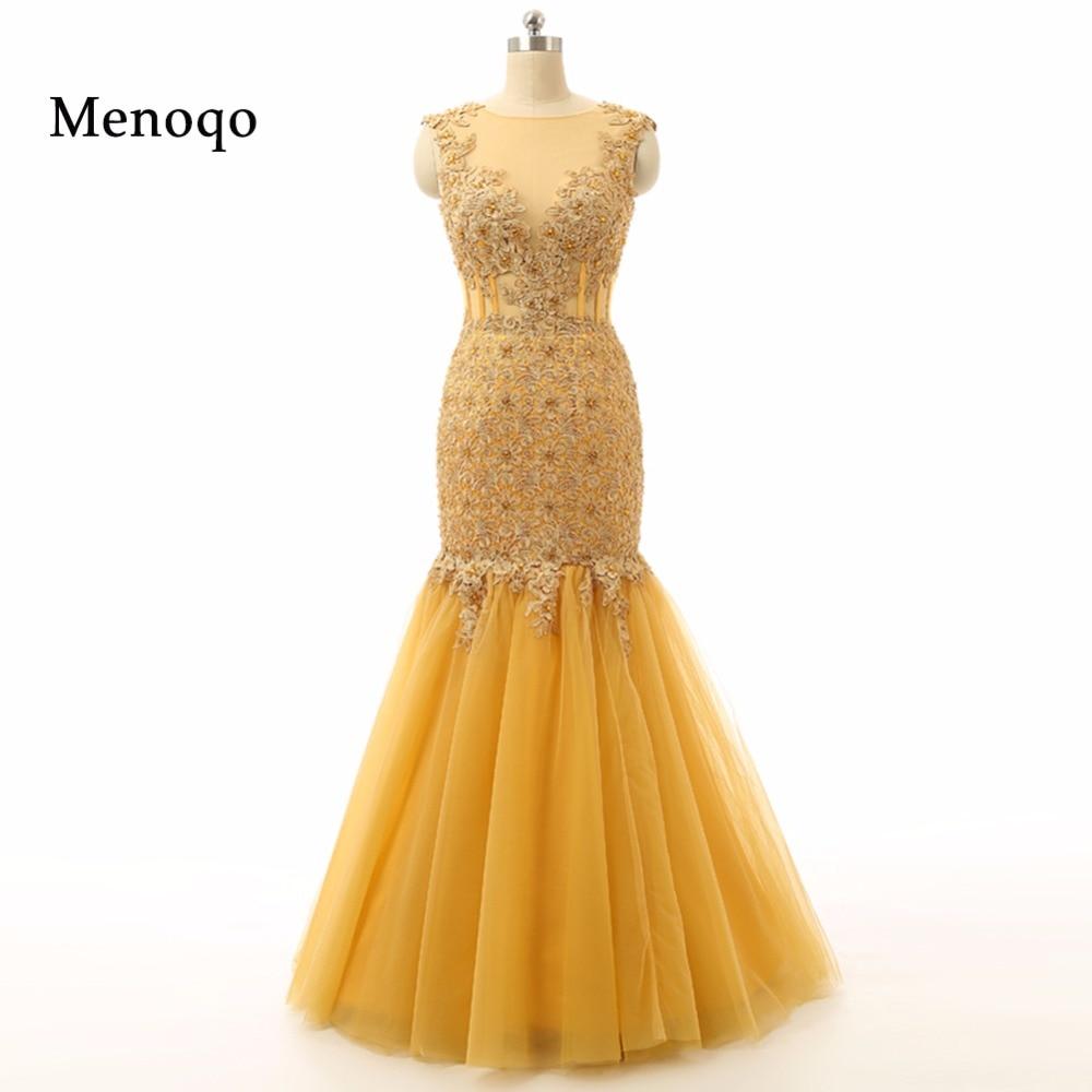 Vestidos De Festa Abendkleid Real Photo Gold Mermaid Cap Sleeve High Quality Applique Tulle Special Occasion Evening Dress 2019