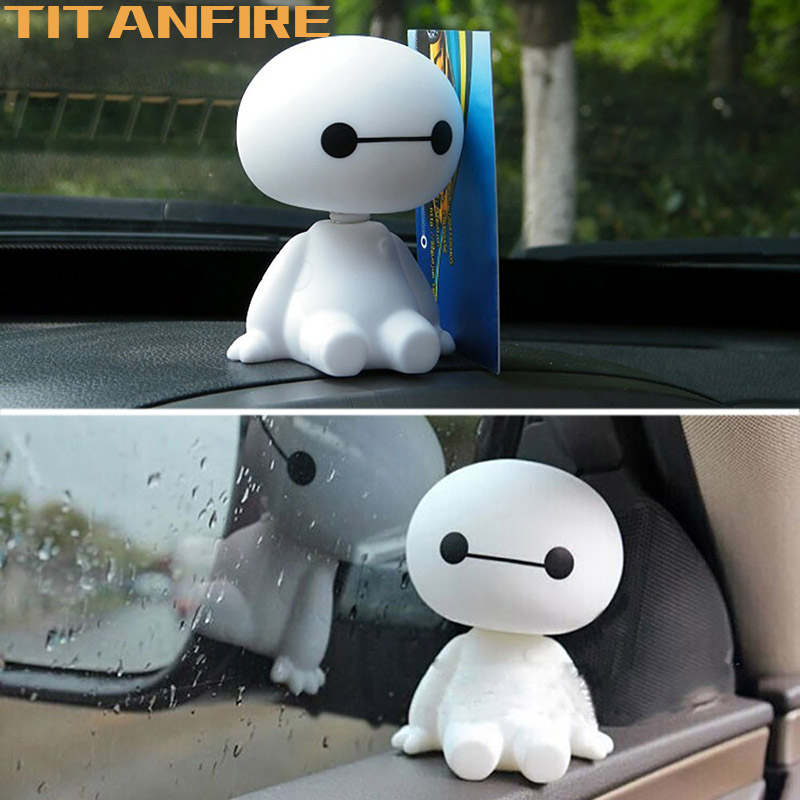 TF30 Cartoon Plastic Baymax Robot Shaking Head Figure Car Ornaments Auto Decorations Interior Hero Doll Toy Ornament Accessories