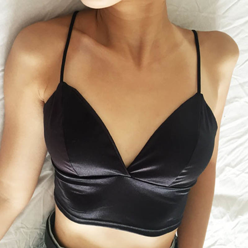 <font><b>Sexy</b></font> Satin <font><b>Crop</b></font> <font><b>Tops</b></font> <font><b>Women</b></font> 2019 Wireless Bralette Crochet <font><b>Top</b></font> Female Spaghetti Strap T-shirt Cropped With Chest Padded Camisole image