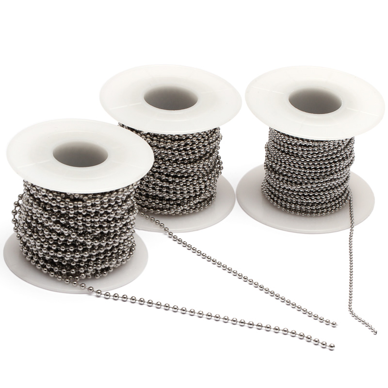 REGELIN 10m/Roll Dia 1.5mm 2mm 2.4mm Beaded Ball Stainless Steel Chain Bulk Jewelry Chains for Necklaces Jewelry Making Supplies