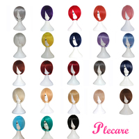Plecare 24 Colors Short Synthetic Wig Pruiken Wigs for Women Heat Resistant Fiber Hairpiece Pink Gray Straight Cosplay Wigs