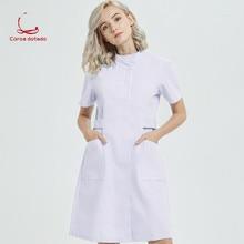 Nurse take summer wear short sleeve round collar winter long hospital edge laboratory drugstore beauty