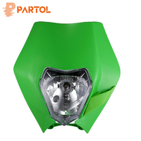 Partol Universal Motorcycle Supermoto Dirt Bike Motocross Supermoto Streetfighter Headlight Indicator Fairing Lampshade Green