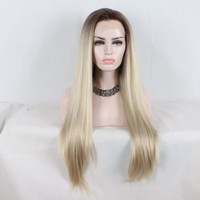 Fantasy Beauty Blonde Ombre Glueless Lace Front Wigs 2 Tone Color Dark Roots Blonde Straight Heat Resistant Synthetic Hair Wig