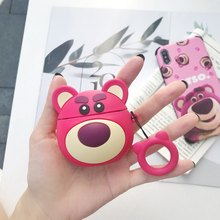 Ring Strap Wireless Earphone Protective Cover 3D Pink Bear Lotso Silicone Case For Apple AirPods 1 2 Headphone Charging Box(China)