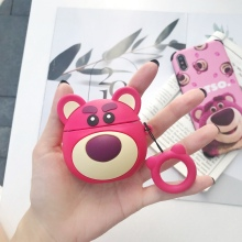 Ring Strap Wireless Earphone Protective Cover 3D Pink Bear Lotso Silicone Case For Apple AirPods 1 2 Headphone Charging Box