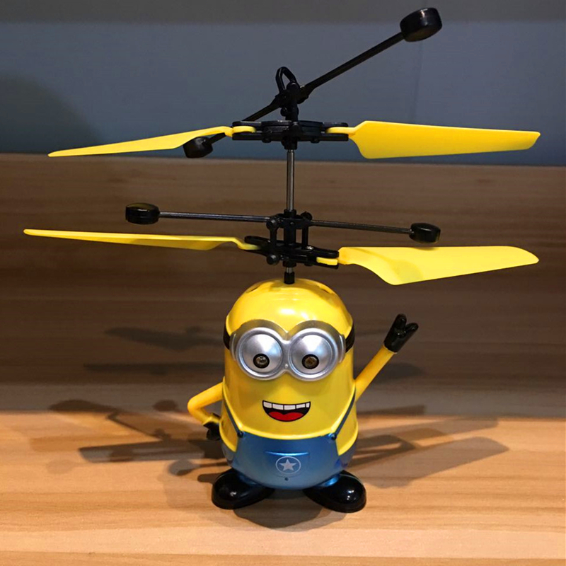 Drone RC Helicopter Aircraft Mini drone Fly Flashing Helicopter Quadcopter Hand Control Small yellow people RC Toys Drone in Camera Drones from Consumer Electronics