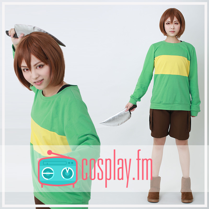[STOCK] Game Undertale Chara Green Pullover Sweater Color contract Top Cosplay Top S-XL Hot sale free shipping