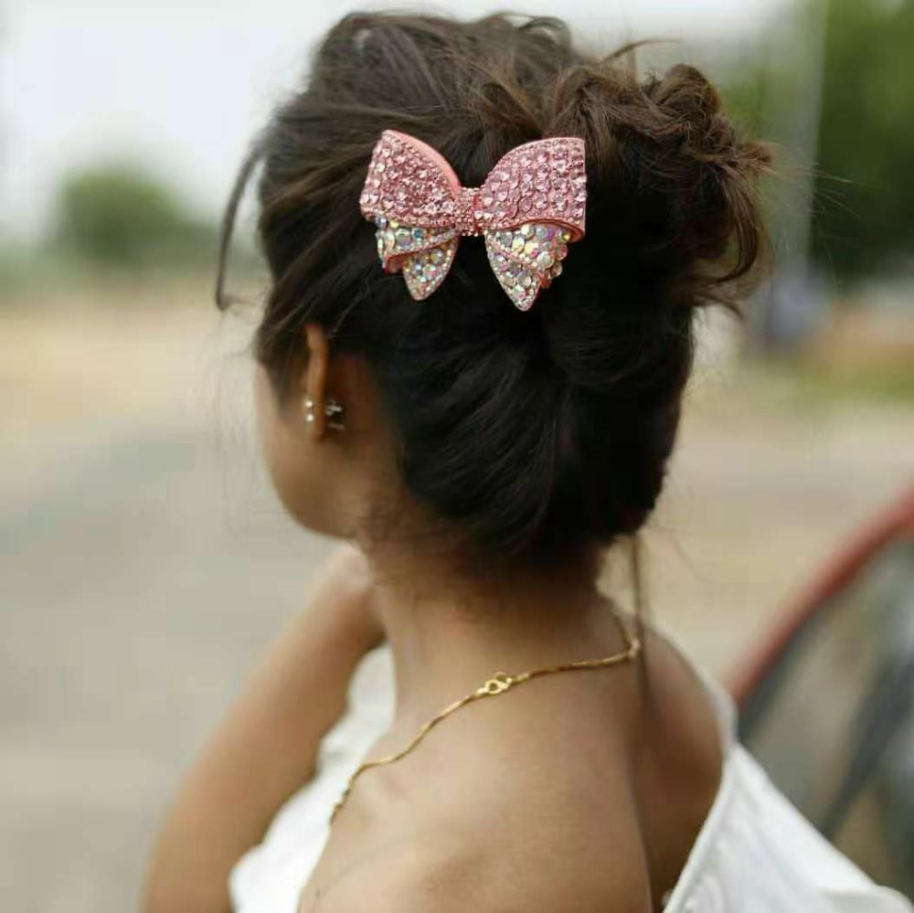 Thumblina Pinky Rhinestone Princess Hairgrips Glitter Hair Bows With Clip Dance Party Bow Girls Hairpin Hair Accessories