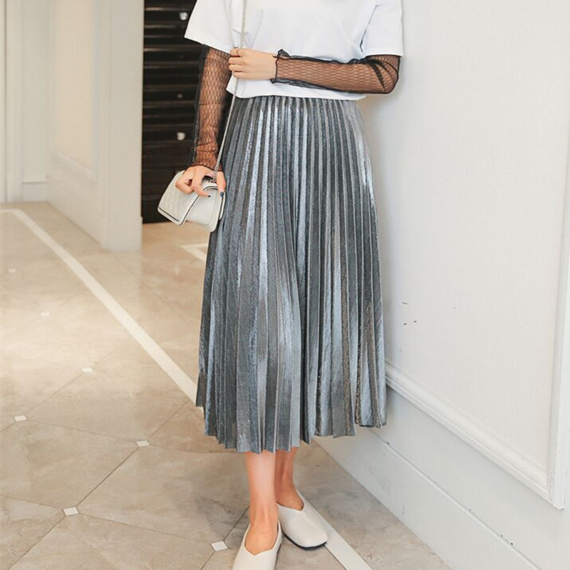 2017 Women Metallic Silver Skirt Elastic Waist Midi Skirt High Waist Metallic Pleated Skirt Party Club Ladies Saia Fenimias