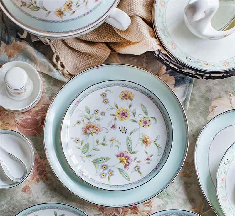 2 قطع مجموعة ، 8 + 10 بوصة ، غرامة العظام الصين عشاء لوحة مجموعات ، السيراميك servies مجموعة بوردن ، الخزف الزهور طبق بوفيه أطباق