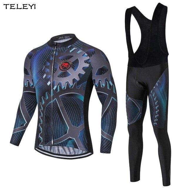 TELEYI Gear Men Cycling Jersey Sets Long Sleeve Ropa Ciclismo Bicycle Jersey Set Bike Jacket Gel Padded Bib Pants Size S-3XL