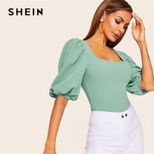 SHEIN Camiseta color turquesa con mangas abullonadas, camiseta ajustada lisa con cuello cuadrado para mujer, verano 2019, ropa de trabajo elegante de media manga, Tops