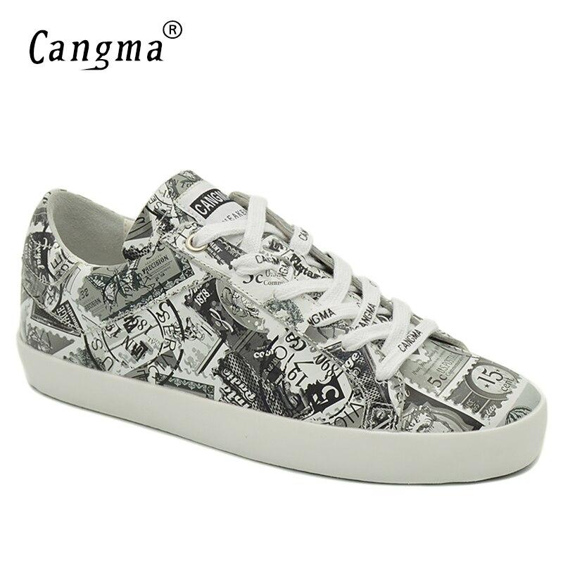La Plates Chaussures À En Véritable Blanc Main no Femme Retro Lacent Sneakers Femelle Pour Femmes Marque Retro Cuir Automne Cangma Impression wq4X18z