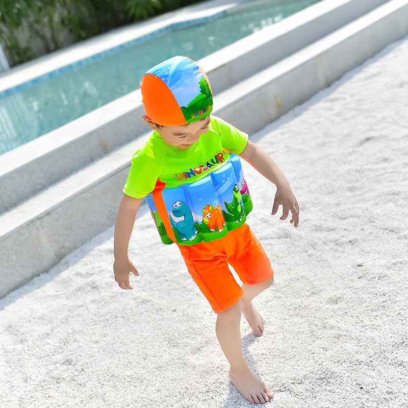 Купальный костюм до колена для детей, поплавок для обучения, одежда для плавания плавучие купальные костюмы с рукавами милый детский купальный костюм для мальчиков защитный купальный костюм