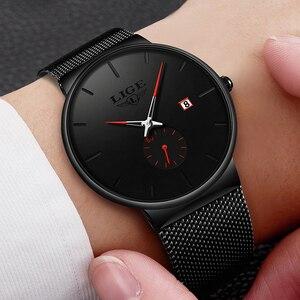 Image 2 - 2019 LIGE męskie zegarki Top marka luksusowa moda zegarek na rękę dla mężczyzn zegar kwarcowy zegar mężczyzna Ultra cienka siatka pasek wodoodporny + pudełko