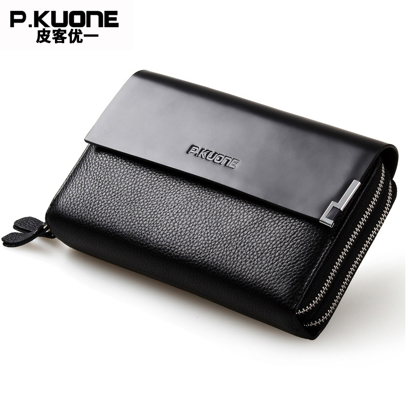 Guarantee Natural Genuine Leather Men Clutch Bag Long Double Zippers Wallet Luxury Brand Designer Business Male Clutch Wallets
