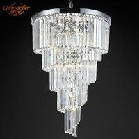 Lámpara de prisma moderna de Cristal  iluminación de lujo  gran candelabro de Cristal  lámpara de escalera  accesorios de iluminación para la decoración del Hotel del hogar Candelabros     -