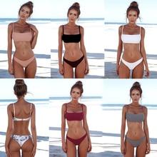 2019 Sexy Bikini Set Women Swimsuit Solid Bikini Backless Swimwear Low Waist Bathing Suit Female UnPadded Bra Swimsuit dropship