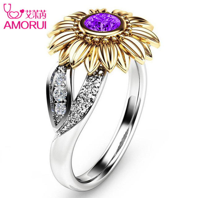 Silver Color Cute Gold Sunflower Crystal Wedding Ring 3
