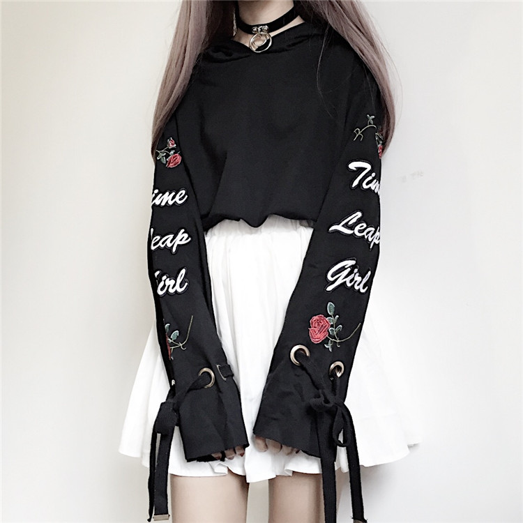 Harajuku Hoodies Women Cute Bow Tie Rose Letters Embroidery Short Pullover For Kawaii Girl