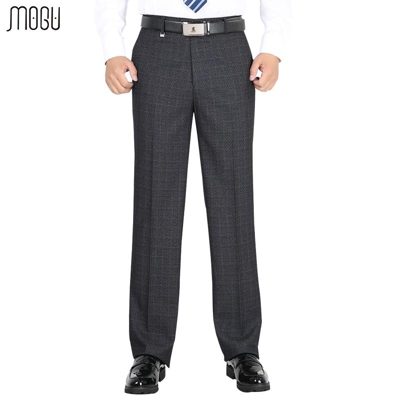 MOGU Men's Thick Suit Pants 2017 Men's Trousers Business Dress Autumn And Winter  Straight High Wasit Pants Large Size 29-50