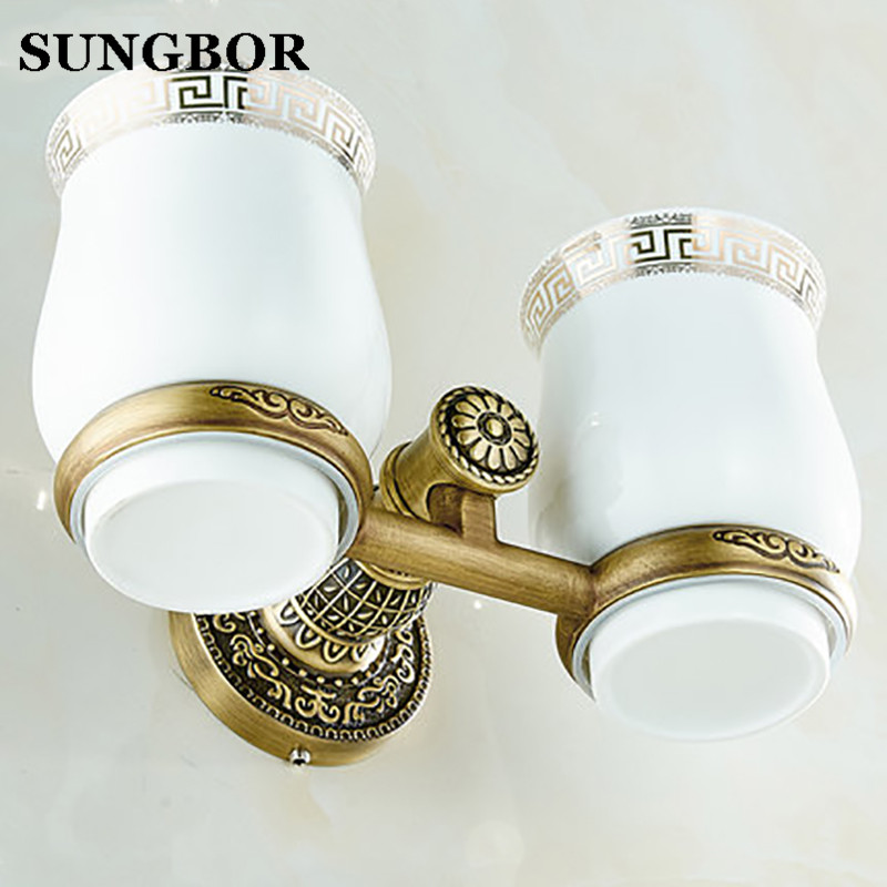 Brass antique double cup holder toothbrush Antique Brass Double Tooth Brush Holder Bathroom Cup Holder Toothbrush Holder