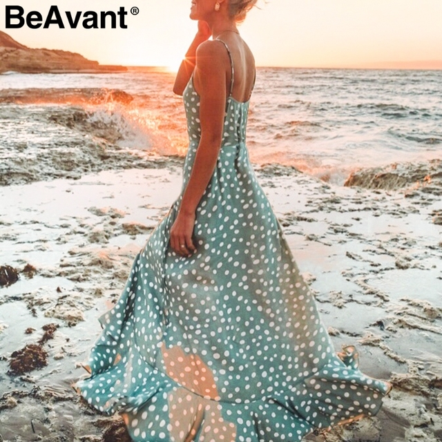 Beavant ボヘミアンセクシーな v ネックドットプリントマキシドレス女性のエレガントなスパゲッティストラップボタンドレスサマービーチロングドレス女性