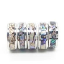Anel de concha unissex, anel de titânio de aço inoxidável polido, produto de joias da moda para homens e mulheres, 20 peças