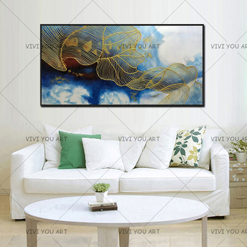 Gold art canvas painting wall art pictures for living room home wall decor original acrylic abstract line texture quadros caudro