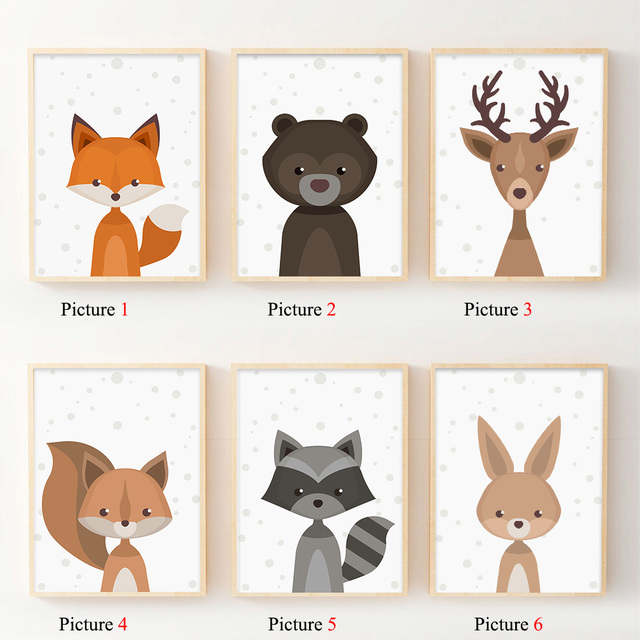 Nordic Art Forest Animal Squirrel Deer Bear Poster Minimalist Canvas Painting Nursery Picture Print Children Room