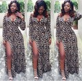 2016 Новое Прибытие Высокого Щелевая Глубокий V Шеи Leopard Печатных сексуальная Клуб Макси Платье Длиной До Пола, Хлопок Полный Платья женщин С пояса