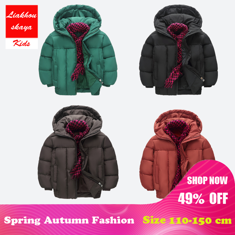 цена Liakhouskaya 2018 New Kids Parka Outerwear Children Winter Hooded Jackets Duck Down Jacket Long Sleeve WindProof Warm 4-13 Year