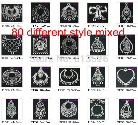 OMH Wholesale Jewelry Tibetan Silver Mixed Pendants Earring Connectors Drop Earrings -(About 50 Kinds Of)