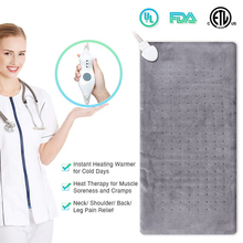 Bellavie Electric Heating Pad for Body Moist and Dry Heat Therapy King Size Fast Auto Off 3 Settings12*24US Plug 110V