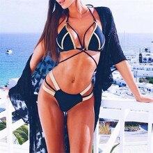 Bikini de mujer 2019 nuevo Bikini Push up Set vendaje Patchwork traje de baño Sexy mujer Vintage acolchado piscina ropa de playa Biquini