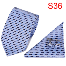 2019 Mens Tie Necktie Set 100% Silk New Jacquard Woven Blue Fashion Casual Dress Wedding Neck