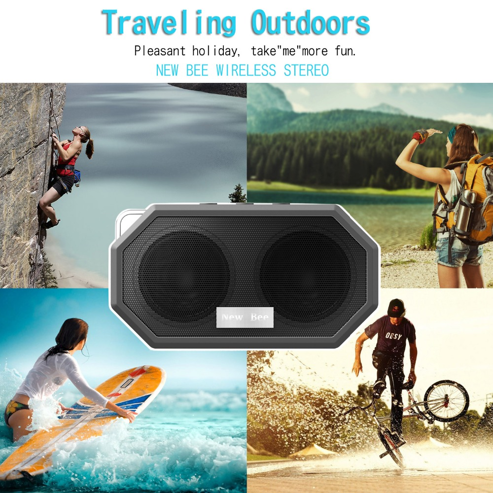 new bee mini wireless waterproof bluetooth speakers for shower and outdoors hands-free with mic