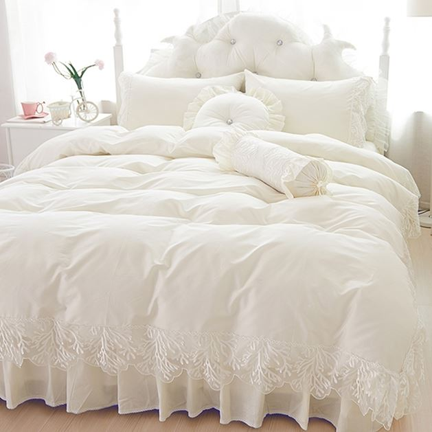Beige Wedding Lace Bedspread Princess Bedding Sets Queen King Size 4pcs Girls Ruffles Duvet Cover Bed Skirt Bedclothes Cotton